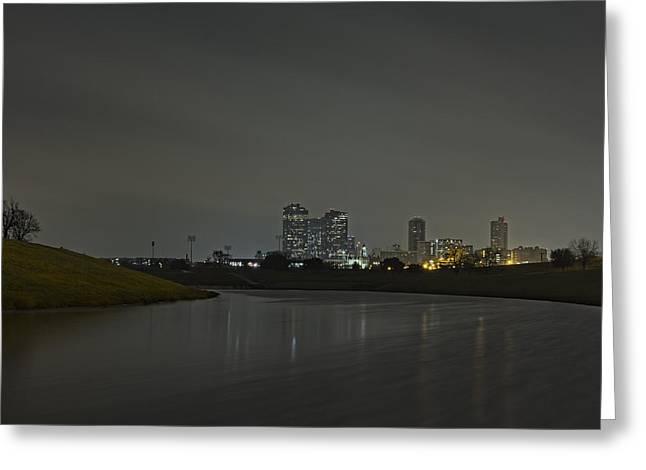 Metroplex Greeting Cards - Fort Worth Skyline Winter Fog Greeting Card by Jonathan Davison