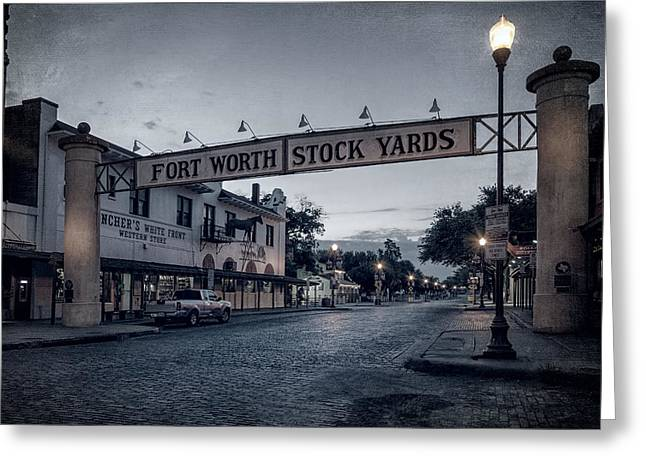 West Tx Greeting Cards - Fort Worth Stockyards BW Greeting Card by Joan Carroll
