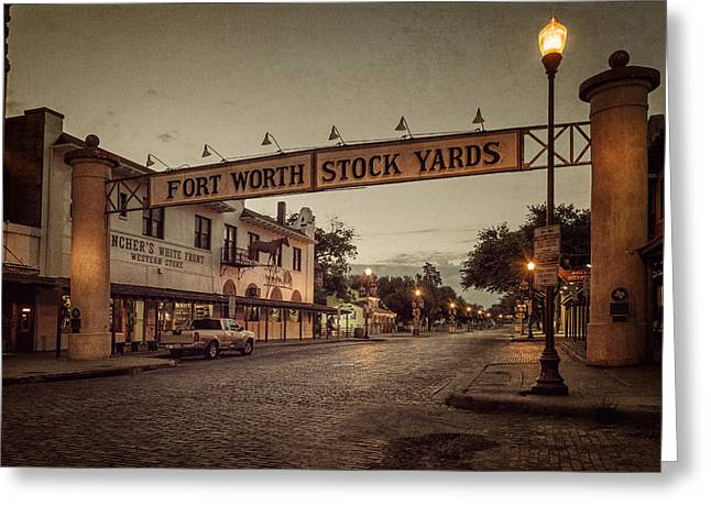 Stockyards Greeting Cards - Fort Worth StockYards Greeting Card by Joan Carroll