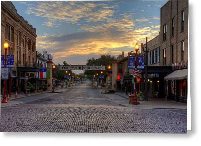 Brick Streets Greeting Cards - Fort Worth Stockyards Sunrise Greeting Card by Jonathan Davison