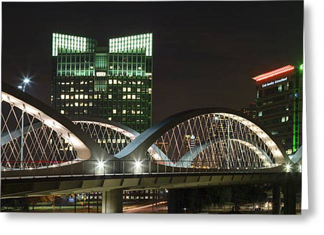 Ft Worth Greeting Cards - Fort Worth Texas Images - Seventh Street Bridge Panorama Greeting Card by Rob Greebon
