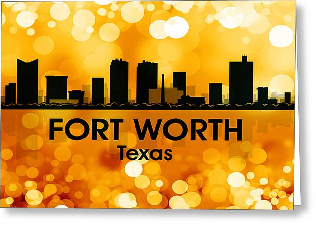 Concrete Jungle Mixed Media Greeting Cards - Fort Worth TX 3 Greeting Card by Angelina Vick