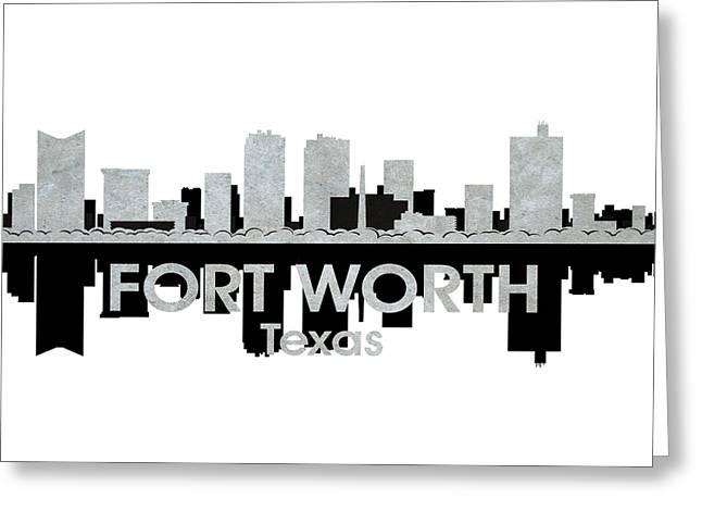 Concrete Jungle Mixed Media Greeting Cards - Fort Worth TX 4 Greeting Card by Angelina Vick