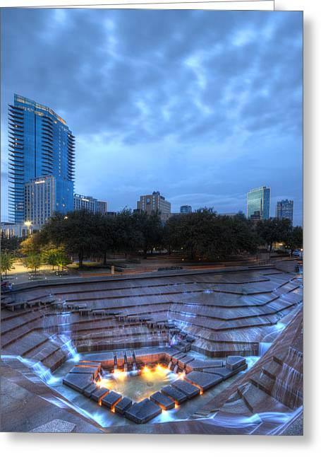 Metroplex Greeting Cards - Fort Worth Water Garden Vertical Greeting Card by Jonathan Davison