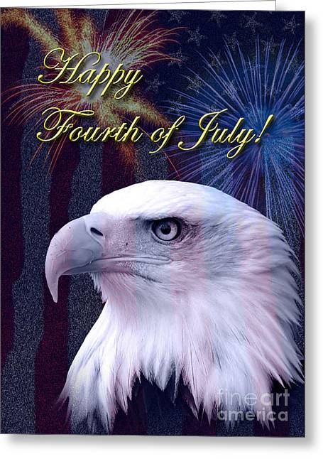 Wildlife Celebration Greeting Cards - Forth of July Eagle Greeting Card by Jeanette K