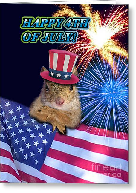 Wildlife Celebration Greeting Cards - Forth of July Squirrel Greeting Card by Jeanette K