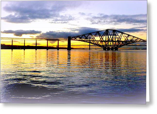 Forth Rail Bridge At Sunset Greeting Card by The Creative Minds Art and Photography