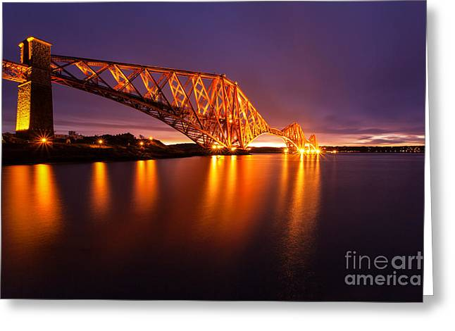 East Coast Greeting Cards - Forth Rail bridge Pre Dawn Greeting Card by John Farnan