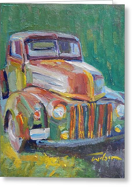 Forties Paintings Greeting Cards - Forties Ford Truck Greeting Card by Ron Wilson