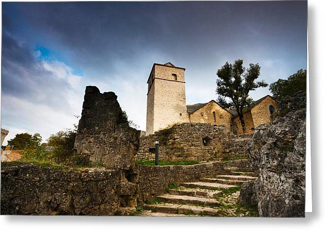 Fortified Wall Greeting Cards - Fortified Church At La Couvertoirade Greeting Card by Panoramic Images