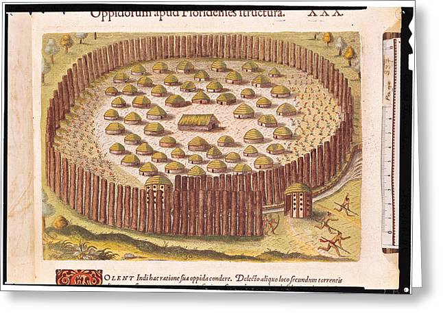 Primitive Greeting Cards - Fortified Indian Village, From Brevis Narratio..., Published By Theodore De Bry, 1591 Coloured Greeting Card by Th. Bry
