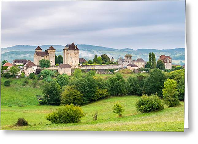 Fortified Wall Greeting Cards - Fortified Town Of Curemonte, Correze Greeting Card by Panoramic Images