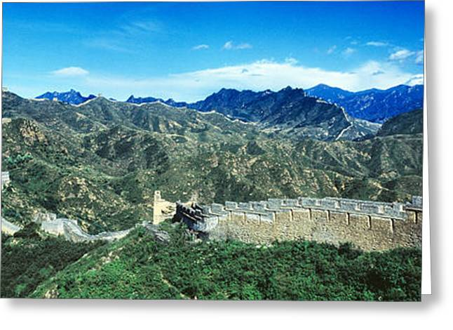 Fortified Wall Greeting Cards - Fortified Wall On A Mountain, Great Greeting Card by Panoramic Images