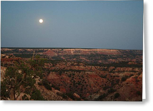 Full Skirt Greeting Cards - Fortress Cliff Moon Greeting Card by Lisa Allen