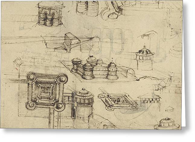 Mathematical Greeting Cards - Fortress from Atlantic Codex  Greeting Card by Leonardo Da Vinci