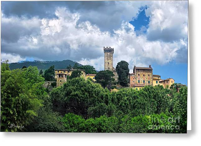 Tuscan Traditions Greeting Cards - Fortress in the Tuscan Hills.Pontedera Greeting Card by Jennie Breeze