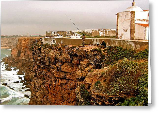 Cliffs Over Ocean Greeting Cards - Fortress where Henry the Navigator founded his Navigation School near Sagres-Portugal Greeting Card by Ruth Hager