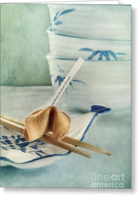 Food Still Life Greeting Cards - Fortune Cookie Greeting Card by Priska Wettstein