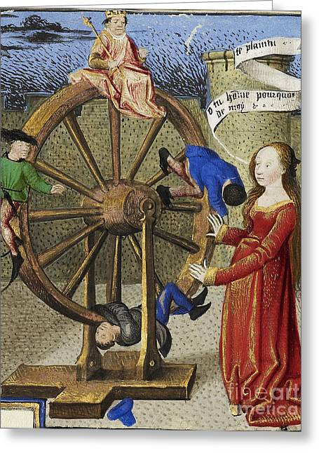Bad Drawing Greeting Cards - Fortune Turning The Wheel Greeting Card by Getty Research Institute