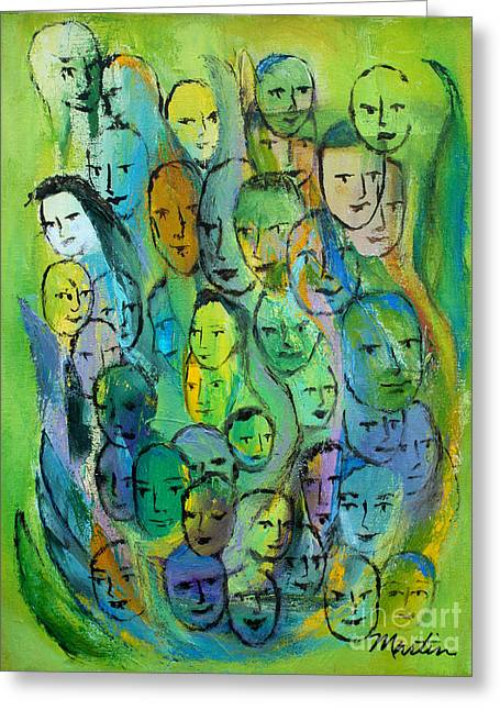 Forty Paintings Greeting Cards - Forty Faces Greeting Card by Larry Martin