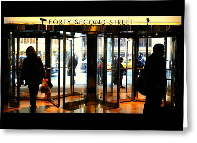Glass Doors Greeting Cards - Forty Second Street Greeting Card by Diana Angstadt