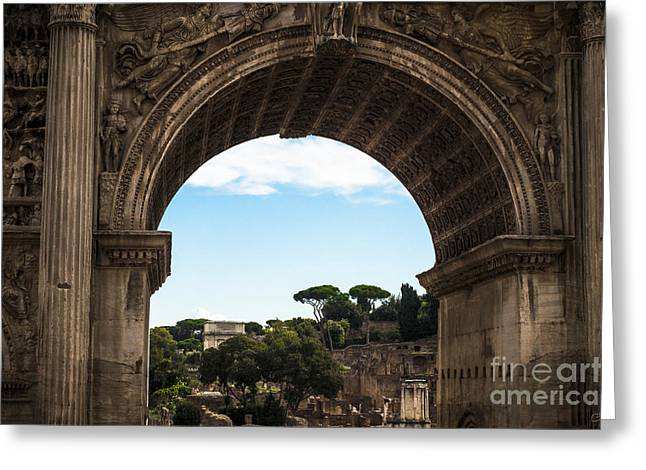 Ancient Ruins Greeting Cards - Forum through the Arch Greeting Card by Prints of Italy