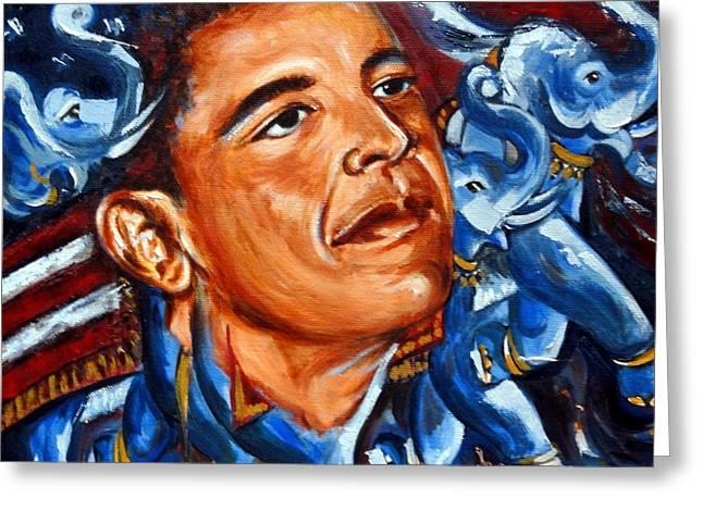 President Obama Greeting Cards - Forward Greeting Card by Harsh Malik