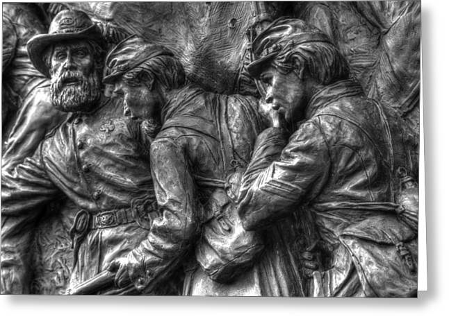 Aotp Greeting Cards - Forward Men - On My Lead.  State of Delaware Monument Detail-I Gettysburg Autumn Mid-Day. Greeting Card by Michael Mazaika