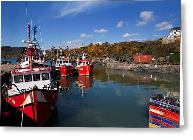 Fishing Port Greeting Cards - Foshing Boats In The Harbour Greeting Card by Panoramic Images