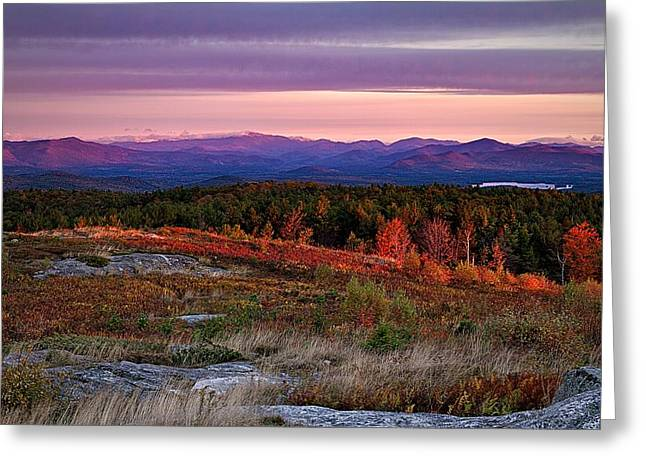 Autumn Scenes Greeting Cards - Foss Mountain Sunrise Eaton NH Greeting Card by Jeff Sinon
