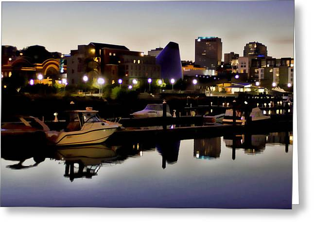 Ron Roberts Photography Greeting Cards Greeting Cards - Foss Waterway at night Greeting Card by Ron Roberts