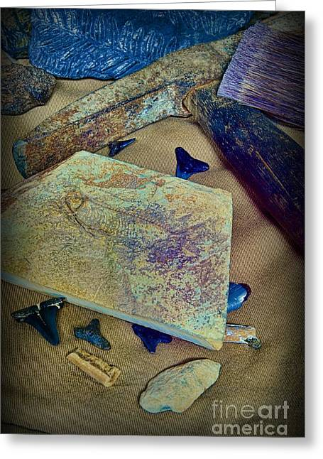 Rock Hammer Greeting Cards - Fossil Hunter - The Paleontologist Greeting Card by Paul Ward