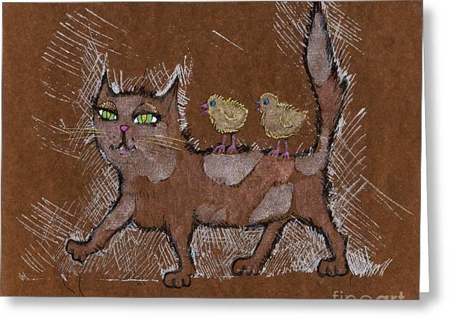 Cat Drawings Greeting Cards - Foster Mum Greeting Card by Angel  Tarantella