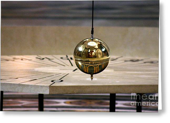 Rotation Greeting Cards - Foucault Pendulum Greeting Card by Babak Tafreshi