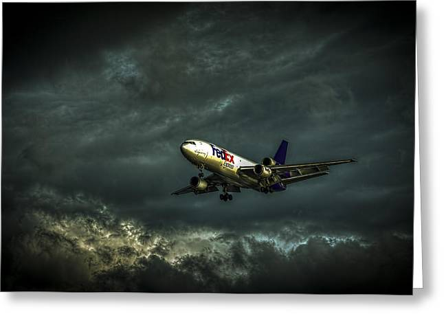 Landing Jet Greeting Cards - Foul Weather FedEx Greeting Card by Marvin Spates