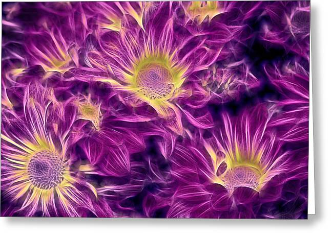 Aqua Flowers Greeting Cards - Foulee de Petales - 32afrp2 Greeting Card by Variance Collections