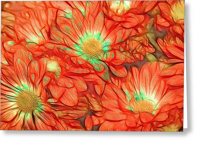 Orange Floral Greeting Cards - Foulee de Petales - tuf011o2t Greeting Card by Variance Collections