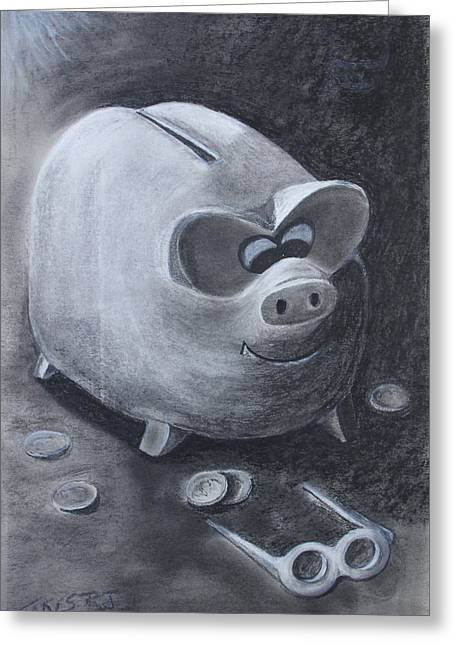 Pig Pastels Greeting Cards - Found em Greeting Card by Robert Stokes
