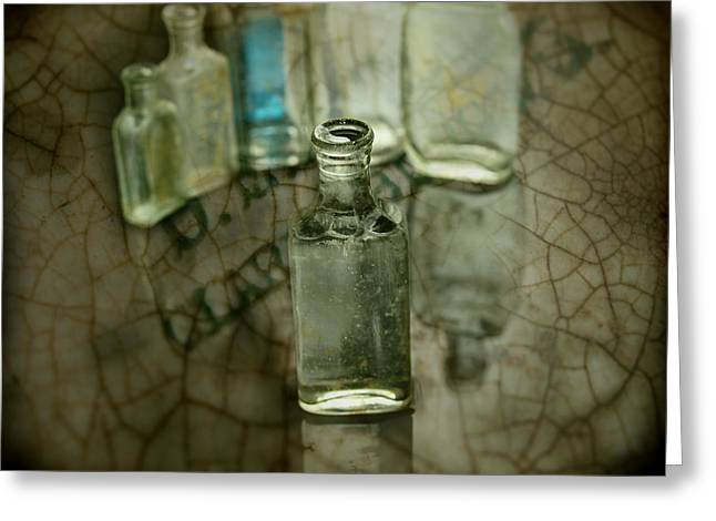 Glass Bottle Greeting Cards - Found Old Not Broken Greeting Card by Thomas Young