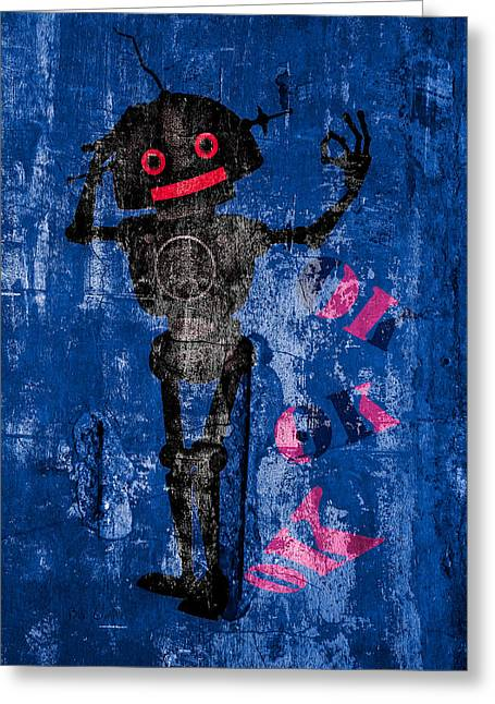 Fame Shop Greeting Cards - Foundation Number 102 Robot Graffiti  Greeting Card by Bob Orsillo