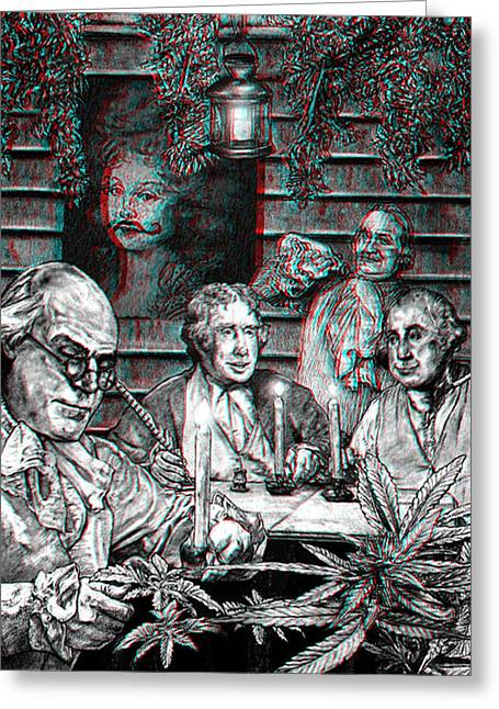 Thomas Jefferson Drawings Greeting Cards - Founding Fathers 3D Greeting Card by MH Heintz