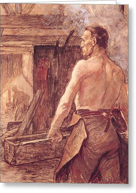 Apron Photographs Greeting Cards - Foundry Worker, 1902 Pastel & Gouache On Paper Greeting Card by Constantin Emile Meunier