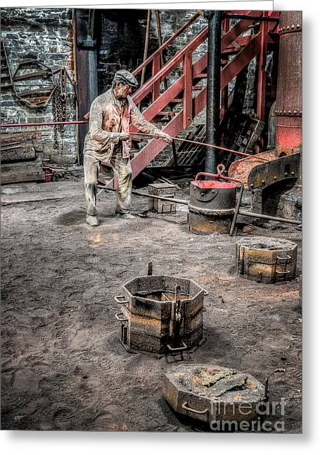 Hot Iron Greeting Cards - Foundry Worker Greeting Card by Adrian Evans