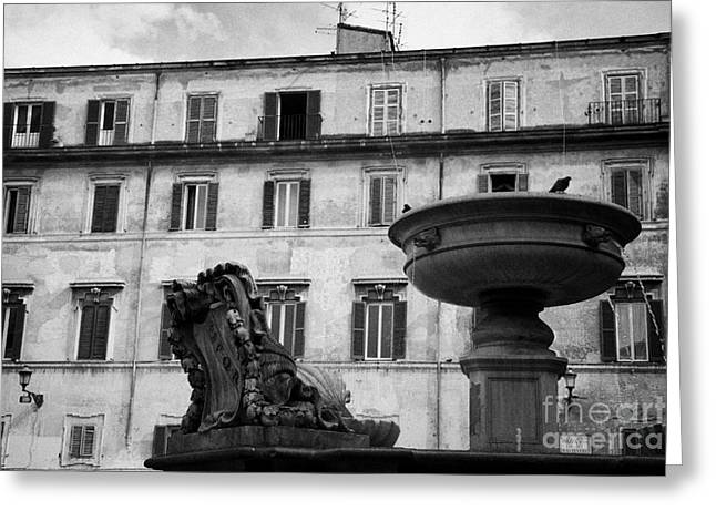 Trastevere Greeting Cards - fountain and buildings in square in trastavere Rome Lazio Italy Greeting Card by Joe Fox