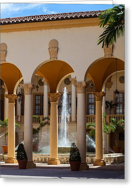 Historic Site Greeting Cards - Fountain and Columns at the Biltmore Greeting Card by Ed Gleichman
