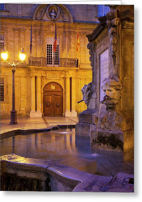 Fountain And Front Facade Of Hotel De Greeting Card by Brian Jannsen