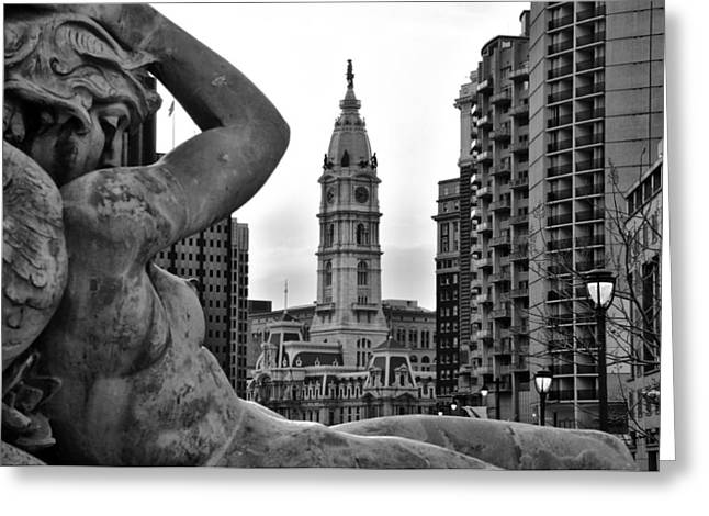 Swann Greeting Cards - Fountain and Philadelphia City Hall in Black and White Greeting Card by Bill Cannon