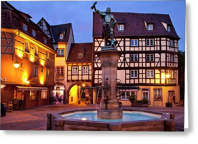 Fountain And Statue Of Baron Lazare De Greeting Card by Brian Jannsen