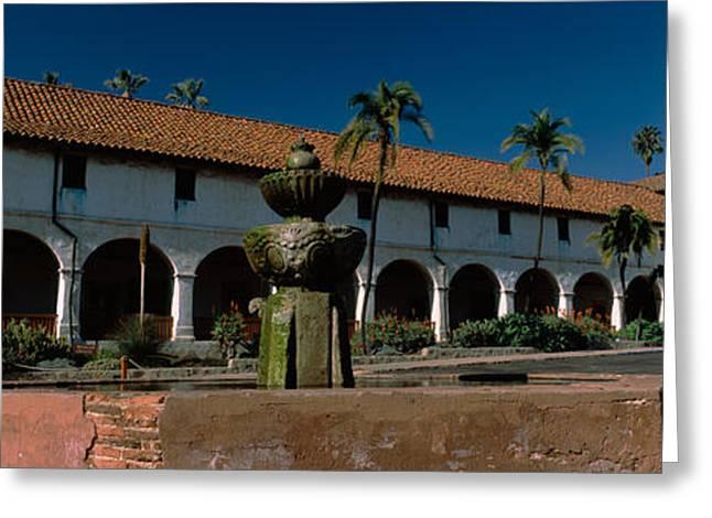 Mission Santa Barbara Greeting Cards - Fountain At A Church, Mission Santa Greeting Card by Panoramic Images