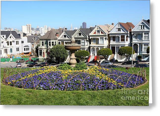 Old Tv Greeting Cards - Fountain at Alamo Square Painted Ladies San Francisco California 5D27989 Greeting Card by Wingsdomain Art and Photography